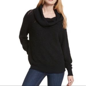 Free People Cowl Neck Oversized Sweater In Black